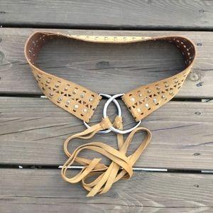 Tan genuine letter fringe tie belt brushed silver